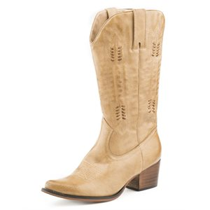 LADIES ROPER TAN FAUX LEATHER BOOTS