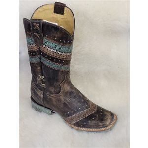 LADIES ROPER BOOTS DISTRESSED BROWN