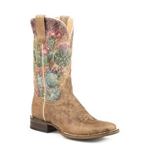LADIES WAXY TAN CACTUS ROPER BOOTS