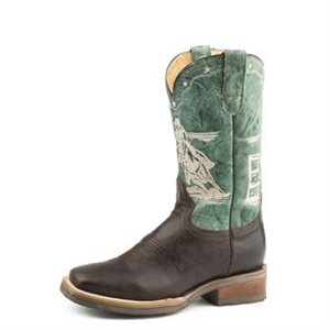 LADIES BURNISH BROWN / TURQ ROPER BOOTS